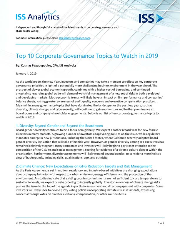 Top 10 Corporate Governance Topics to Watch in 2019